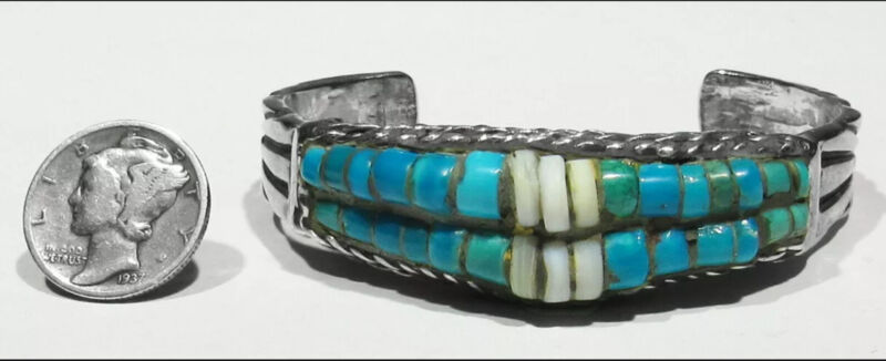 Circa 1900 Old Pawn Zuni Chiseled Silver Ingot Turquoise Heishi Bracelet