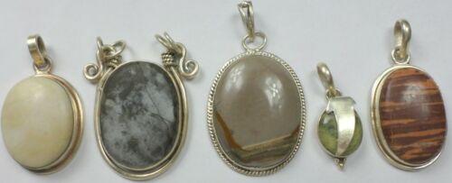 5 Vintage 925 Sterling Silver Agate Jasper Gaspeite Gemstone Pendants 59 Grams