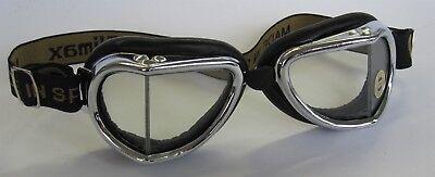 CLIMAX Motorradbrille 501 mit klaren Gläsern Retro Brille Oldtimer chrom schwarz