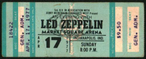 LED ZEPPELIN-John Bonham-1977 Unused Concert Ticket (Indianapolis-Market Square)