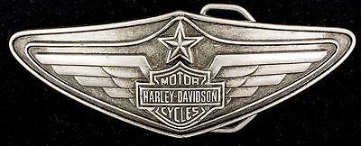 Vtg 2008 Harley Davidson Motorcycle Logo Biker Wings Star Pewter Belt Buckle