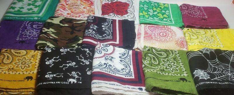 Vintage Bandana Lot Of 52 Sewing Craft Mask Color Fast Elephant Up 100% Cotton