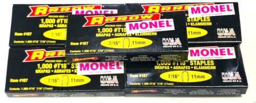 "Arrow 187M T-18 7/16"" Monel Staples For T18 Tacker 5000 Pack USA Made"