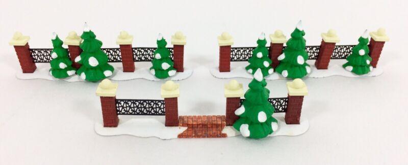 Dept 56 Village COURTYARD FENCE w/STEPS 52205 & 2 Xmas Snow Tree Brick 52124 Set