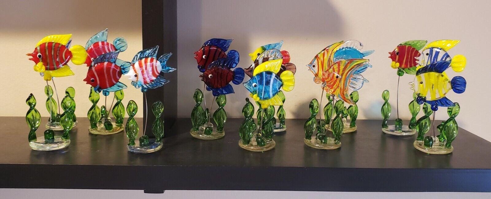 12 PIECE GLASS MINI-FISH SET / ART GLASS
