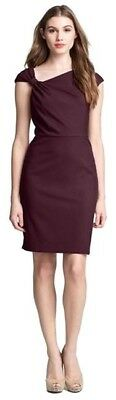 Nordstrom Origami Fold Asymmetrical Burgundy Sheath Dress - 6P 6 petite EUC