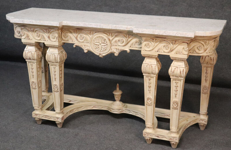 Tasselated Marble Top French Louis XV Paint Decorated Console Table