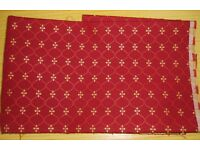 FABRIC - 2 x PIECES BURGUNDY & GOLD PATTERN. Heavyweight upholstery material. COLLECTION or DELIVERY