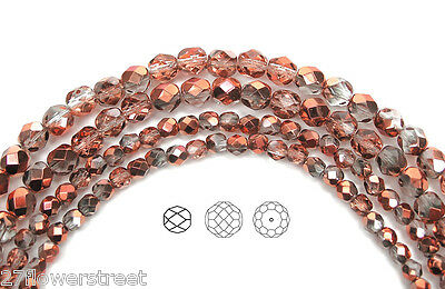 Czech Fire Polished Round Faceted Glass Beads in Crystal SunSet Metallic, -