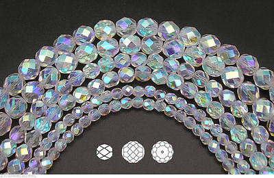 Czech Fire Polished Round Faceted Glass Beads in Crystal AB2X fully coated, -