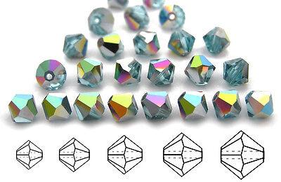 Czech MC Glass Bicone Beads (Rondell/Diamond) Aqua Vitrail, blue V.Medium -