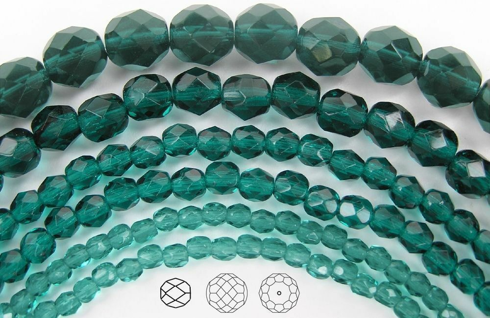 czech fire polished round faceted glass beads