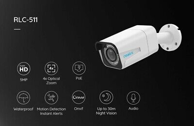 Reolink RLC-511Reolink 5mp Poe IP Camera 4x Optical Zoom SD Card Slot Night (Optical Zoom Ip Network Camera)
