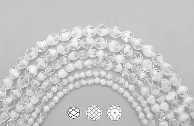 Czech Fire Polished Round Faceted Glass Beads in Crystal White Givre, 4mm 45pc