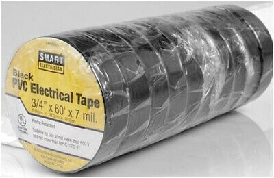 Electrical Tape Black Pvc Insulated 10 Pack 60-ft