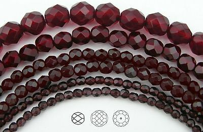 "Czech Glass Fire Polished Round Faceted Beads Garnet dark red color, 16"" strand"