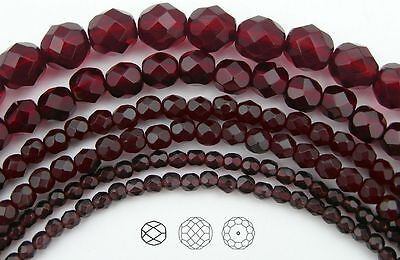 "Garnet Red Czech Glass (Czech Glass Fire Polished Round Faceted Beads Garnet dark red color, 16"" strand )"