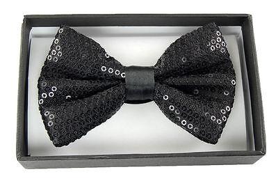 Unisex BLACK Sequin Tuxedo Classic BowTie Neckwear Adjustable Bow Tie-New