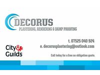 DECORUS :- Plastering over Artex,Rendering & Damp Proofing (Servicing Cardiff & Vale of Glamorgan)