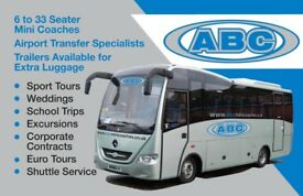 MINI COACH/MINIBUS HIRE WITH DRIVER 8-33 SEATERS-ABC MINI COACHES OF WOKINGHAM & READING 9888898