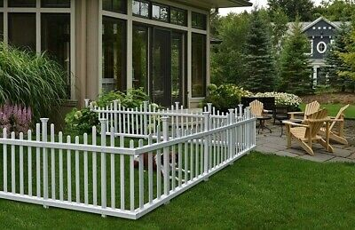 - Dog Fence Picket Portable Pet Outdoor White Vinyl Gate Weather Resistant