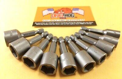 Drill Hog Magnetic Nut Driver Set SAE/MM 10 Pc Setter Impact Lifetime Warranty ()
