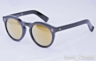 illesteva Leonard 2 Clear Black Gloss Frame Sunglasses Gold Mirror Lens