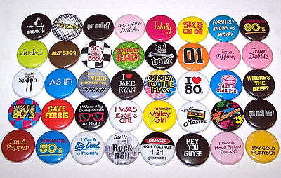 Everything 80's 1980's Theme Party Humor Pins Buttons Party Favors - Set of 40 (80s Party Themes)
