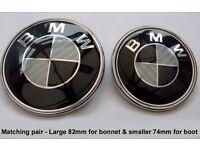 BMW CARBON FIBRE MATCHING 82mm BONNET AND 74mm BOOT BADGES - FIBER UPGRADE BADGE SET FOR YOUR BMW!