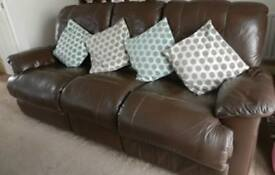 Leather Sofa Double Recliner 3 Seater