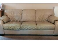 2 seater and 3 seater cream leather sofas for sale.