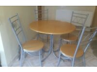 Round Kitchen/Dining Table and Four Chairs