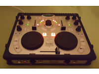 DJ Twin Decks Disco Party MP3 Mixing Controller Console +Audio Sound Card+DJ Mic Input+Midi In Out