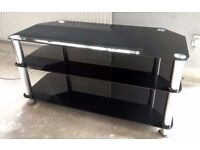 3 Tier Black Large Glass Steel Corner TV Stand Cabinet Unit for up to 60 Inch Flat Screen TV table