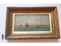 Antique Watercolour Seascape Painting Gilt Gesso Frame Signed G. Feltham 19th Century