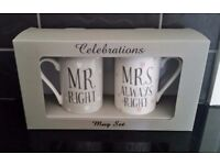 Set of 2 Mugs - 'Mr Right' and 'Mrs Always Right' Mugs - Wedding Gift - Brand New - Boxed