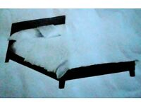 Bargain - As New - Brown Faux Leather Double Bed Frame