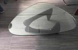 Isamu Noguchi Style Black Ash Designer Coffee Table with Glass Top | Brand New