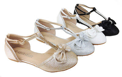 Girls Rhinestone Glitter Bow Ballet Flats Mary Jane Pageant Shoes Ba0058](Girl Flats Shoes)
