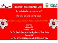 Ridgmont Village Football Club Trials Day
