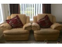 Real leather Three piece suite 2 seater and 2 recliner chairs