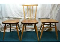 3 x Ercol Dining All Purpose Chairs / Stools Model 391 Light Finish - need TLC