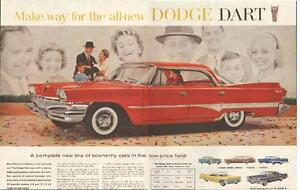 Extra large authentic 1959 two-page color ad for 1960 Dodge Dart