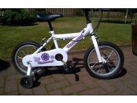 "Girl's 14"" bike with stabilisers. Hardly used"