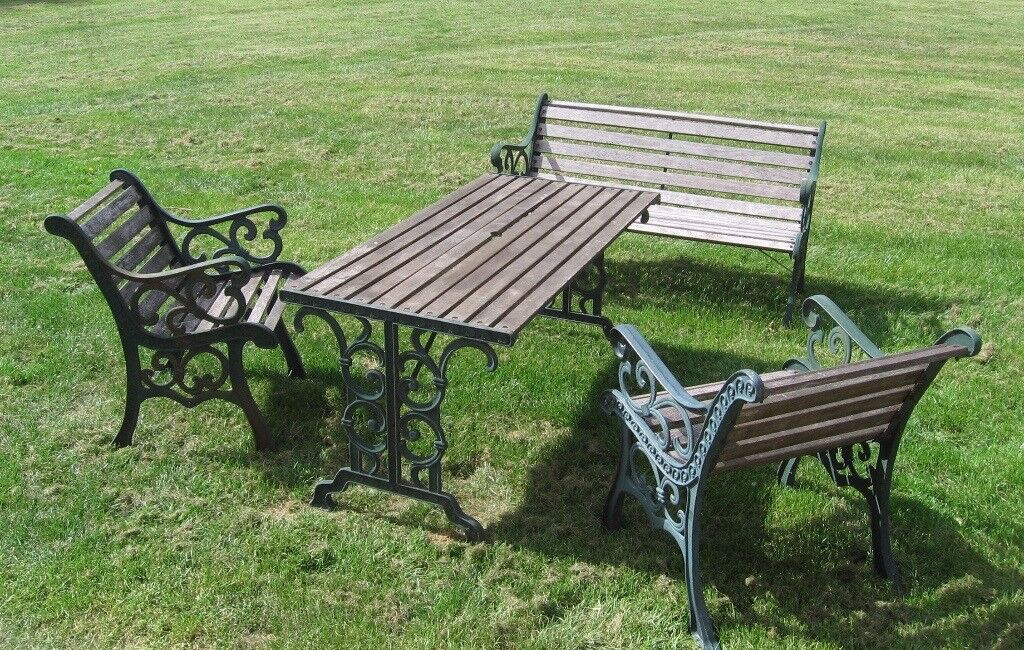 Victorian Style Cast Iron Garden Furniture Set 2 Chairs 1 Bench And Table In Kent