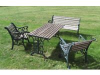 Victorian style cast iron garden furniture set. 2 chairs, 1 bench and 1 table in Kent