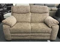 Cream / Brown fabric 2 seater sofa