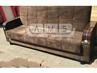 **TURKISH MADE** BRAND NEW 3 SEATER FABRIC SOFA BED WITH STORAGE SLEEPER LEATHER SETTEE BLACK/BROWN