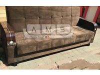 **BRAND NEW** 3 SEATER FABRIC STORAGE SOFA BED, LEATHER SETTEE WITH WOODEN ARM RESTS IN BROWN/BLACK
