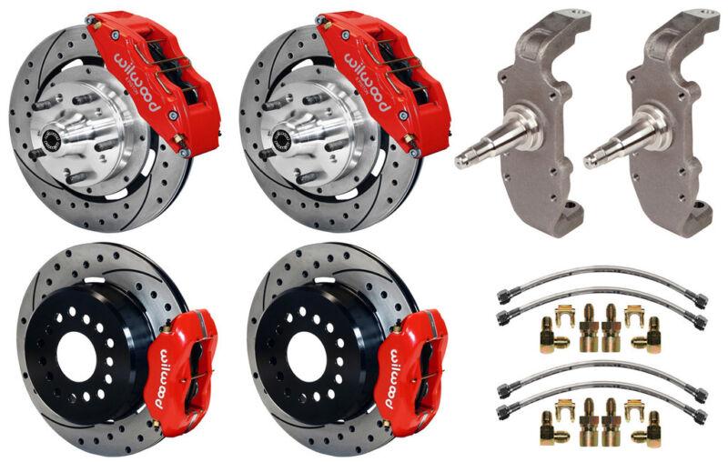 "Wilwood Disc Brake Kit & 2"" Drop Spindles,55-57,12"" Drilled,6/4 Piston Red,heidt"
